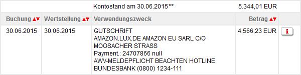 Überweisung von Amazon aufs Giro-Konto