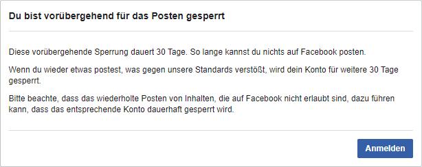 30 Tage Sperrung Facebook