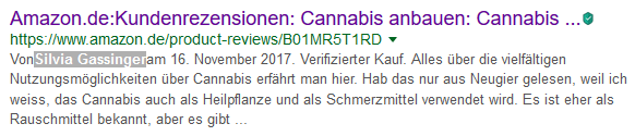 Silvia Gassinger Amazon Rezension Google Cannabis