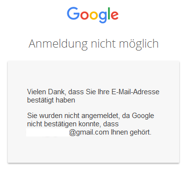 Google Anmeldung nicht-möglich