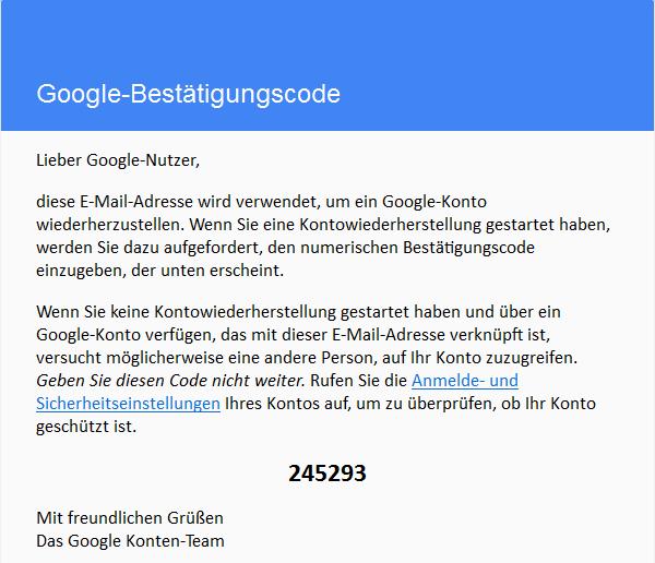 Google Bestätigungscode