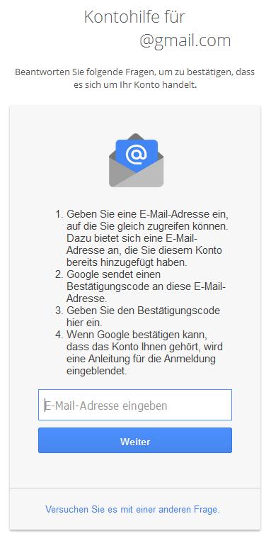 Google Kontohilfe E-Mail