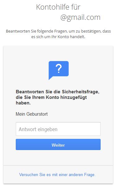 Google Sicherheitsfrage