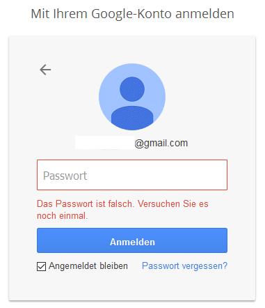 Google falsches Passwort